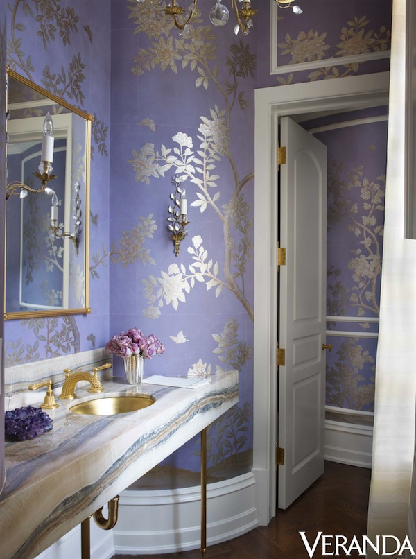 lavender and silver wallpaper bathroom