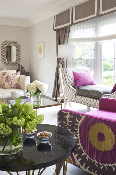 living room in beverly hills yellow and fuchsia 1