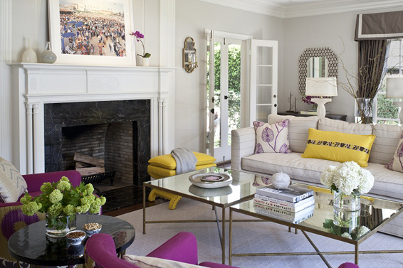 living room in beverly hills yellow and fuchsia 2 fireplace