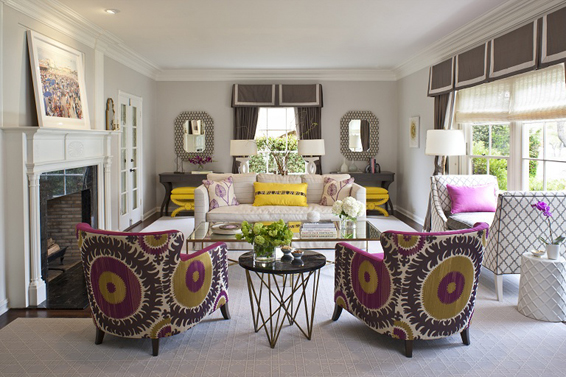 living room in beverly hills yellow and fuchsia 6