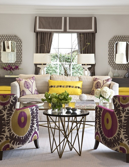 living room in beverly hills yellow and fuchsia