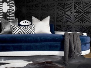 Navy Blue Velvet Sofa