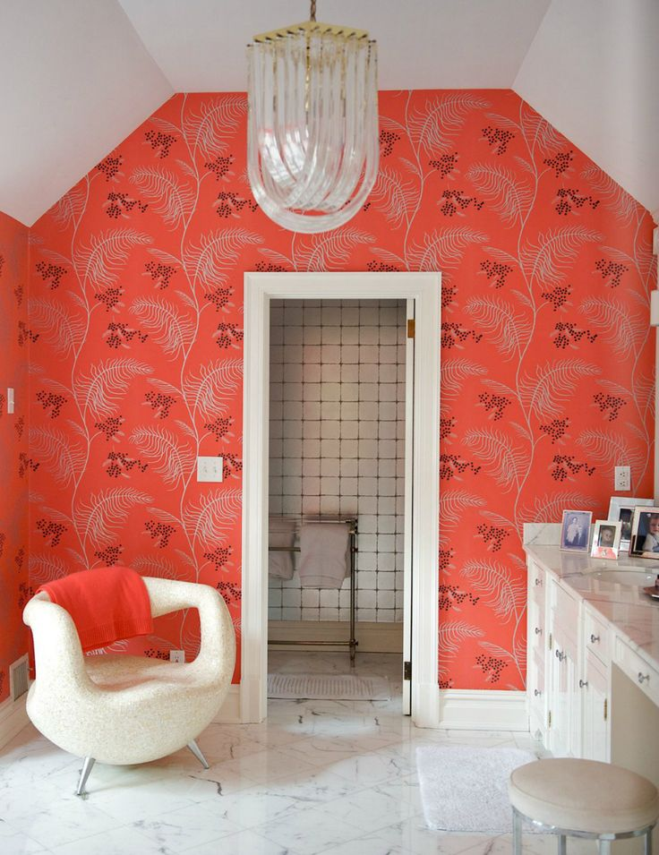orange and white fancy bathroom