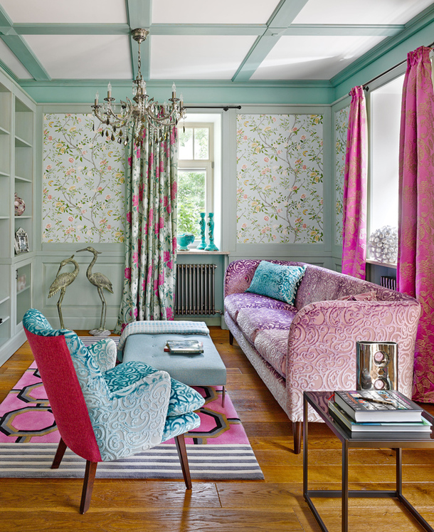 Seafoam and Fuchsia Library - Interiors By Color