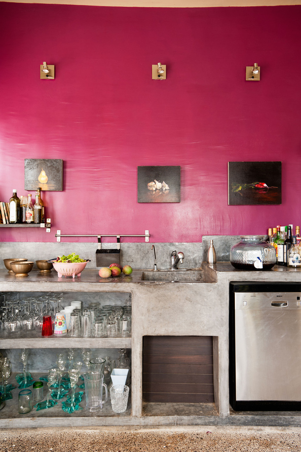 pink concrete modern kitchen