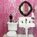 Pink Damask Powder Room