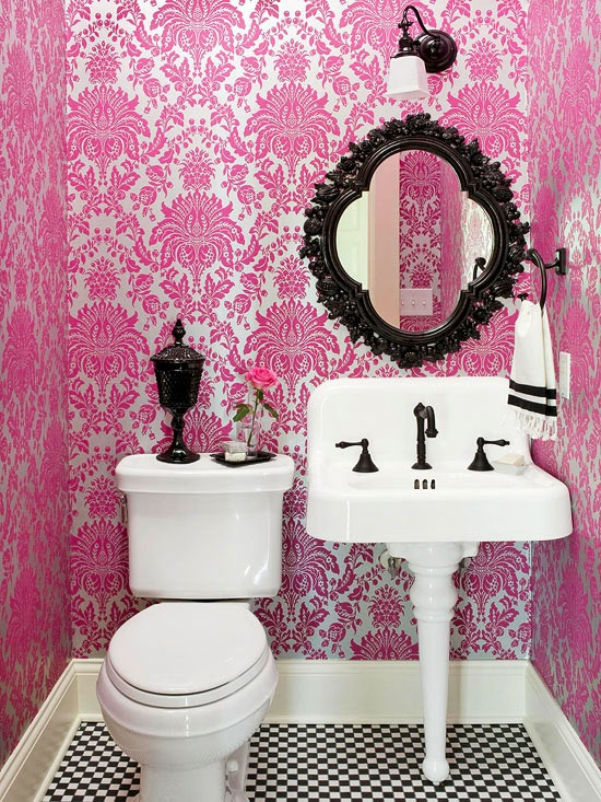 pink damask bathroom from better homes and gardens