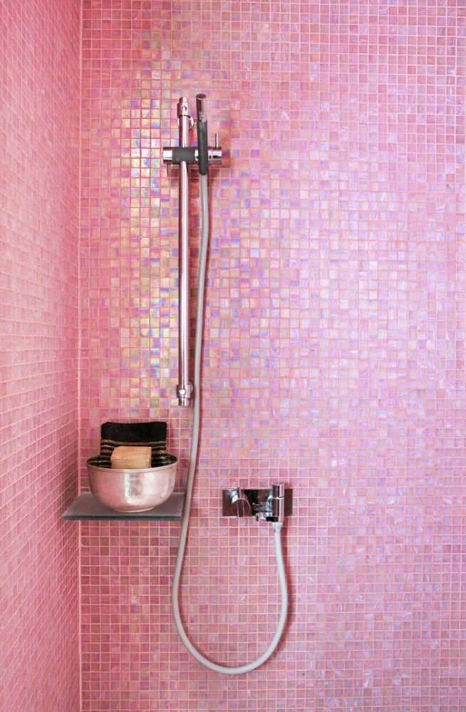 pink mosaic bathroom