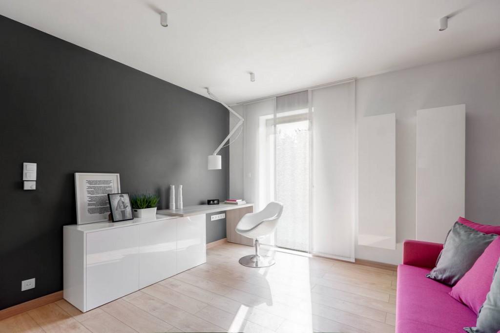 pink soaf grey walls