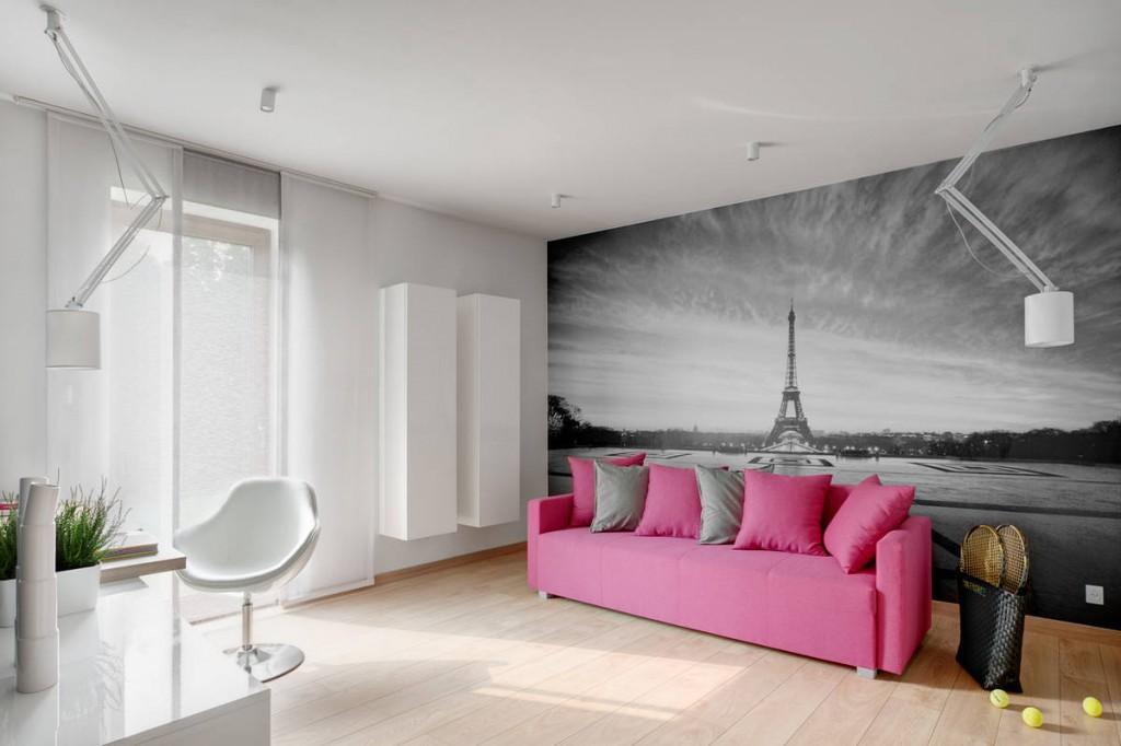 pink sofa grey walls
