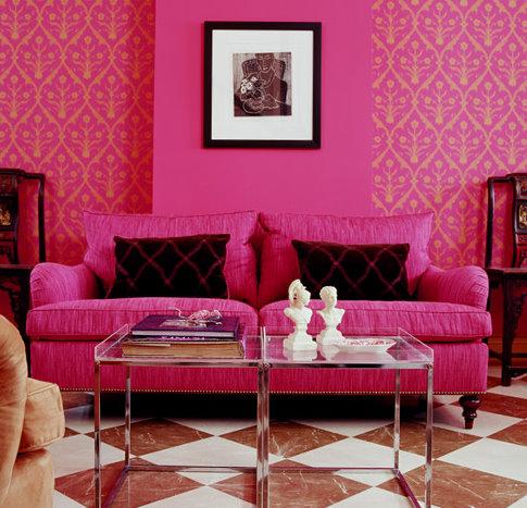 pink wallpaper, pink sofa