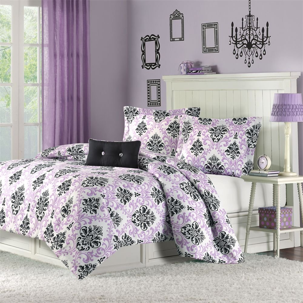 purple and black damask bedroom bedding