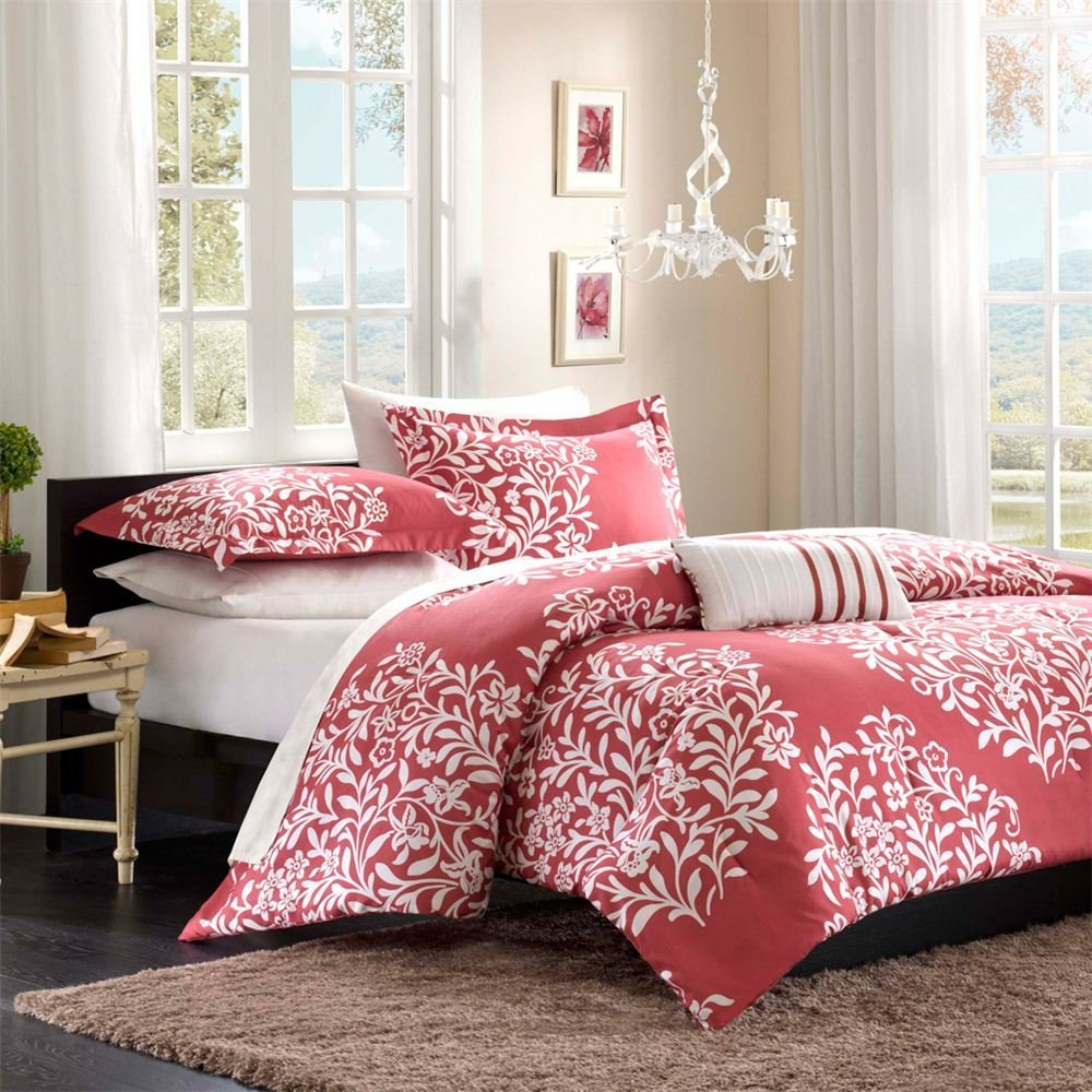 Dark Pink Print Bedding - Interiors By Color