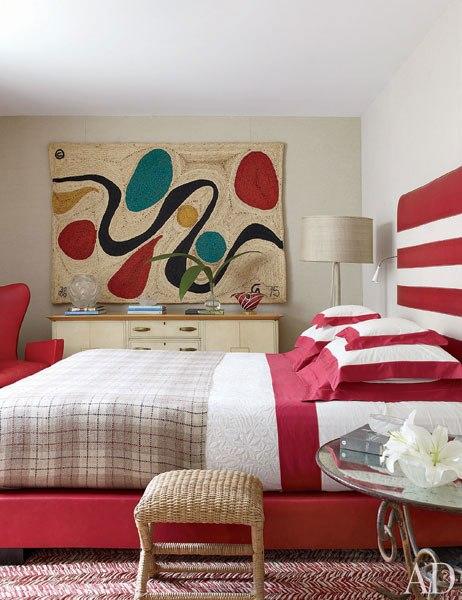 red white stripe modern bedroom