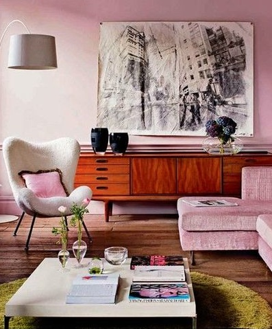 retro living room in pastel pink - interiorscolor