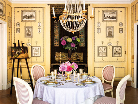 romantic french dining room in yellow and pink