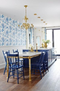 A Regal Kitchen in Royal Blue & Gold