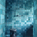 Rustic Tiled Turquoise Bathroom