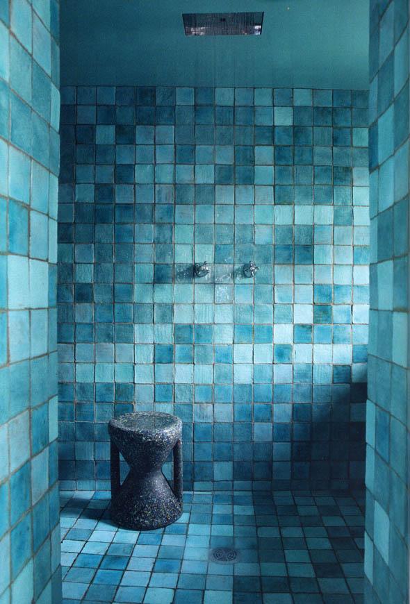 Rustic Tiled Turquoise Bathroom