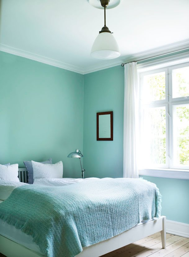 Gray Room Design Ideas: Scandinavian Mint Bedroom