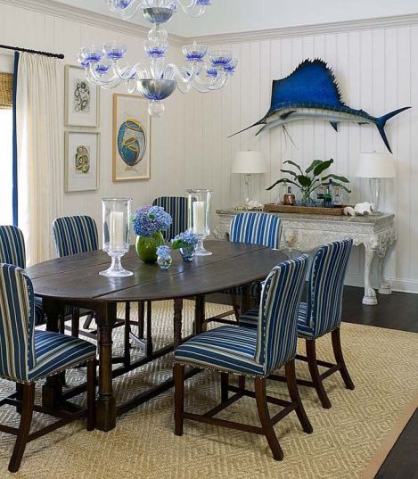 southern style blue stripe dining room