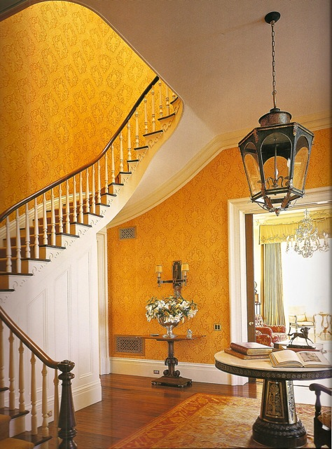 Traditional Wallpaper For Foyers : Traditional orange foyer interiors by color
