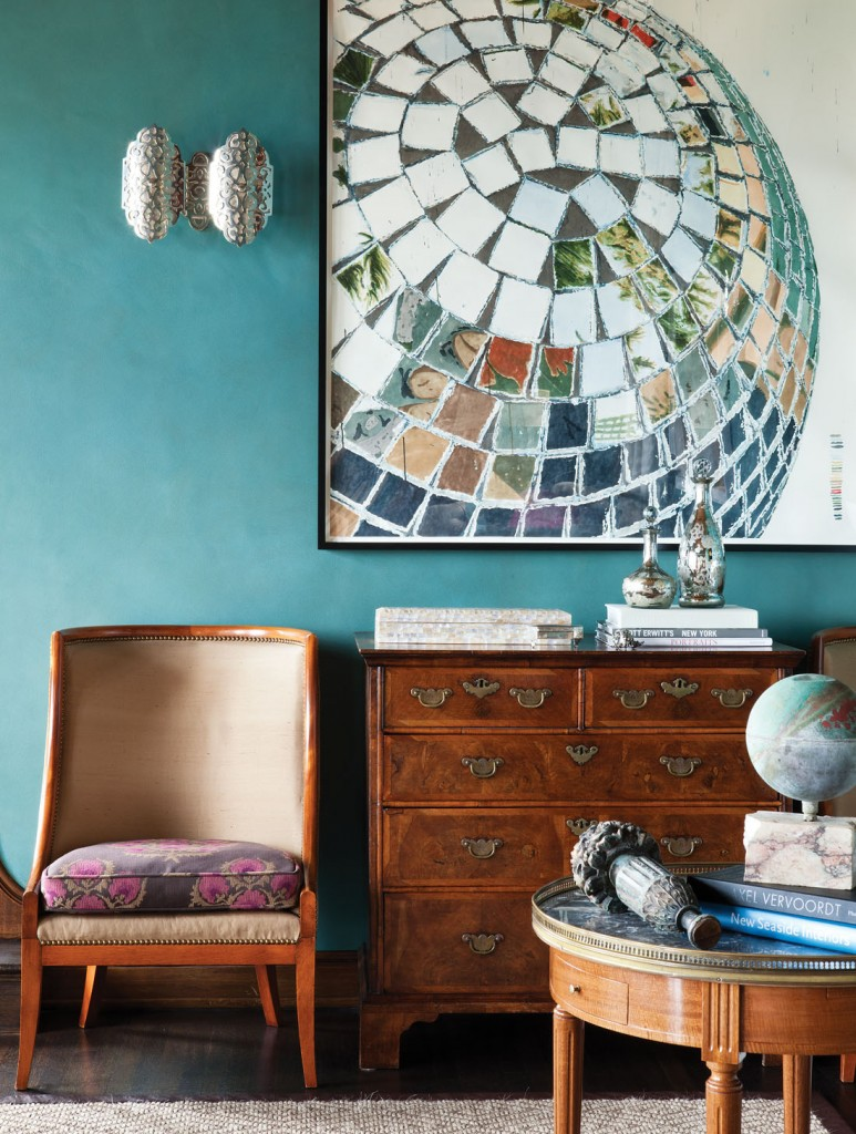 turquoise living room wall