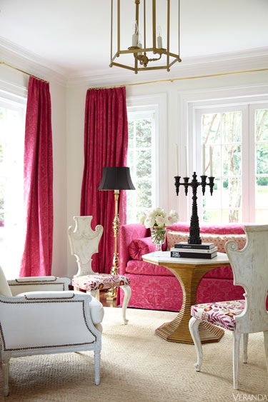 white and soft damask pink living room.
