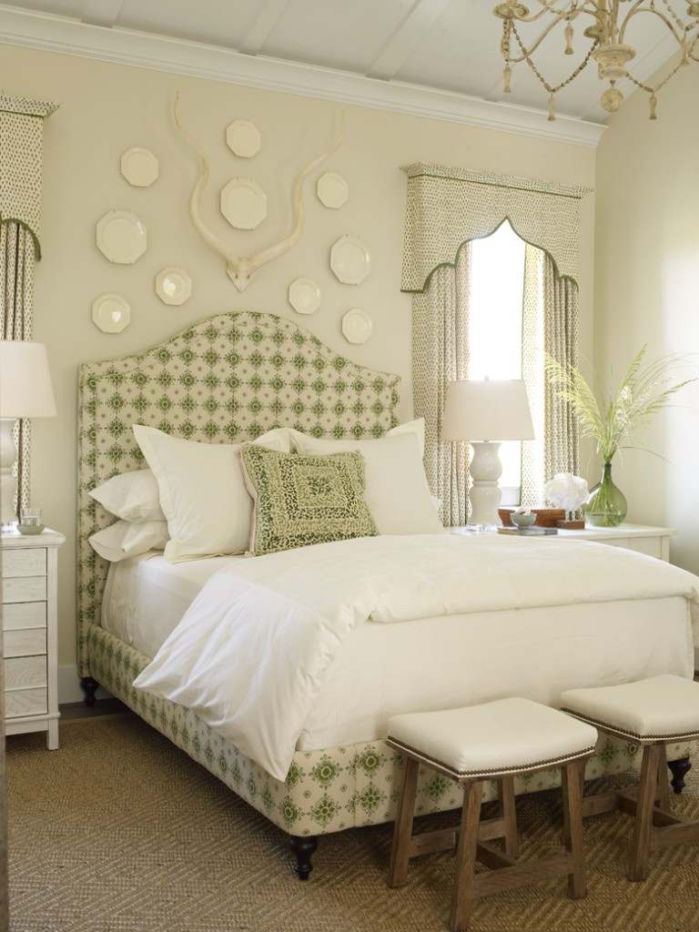 Green and neutral toned bedroom interiors by color for Southern style bedroom