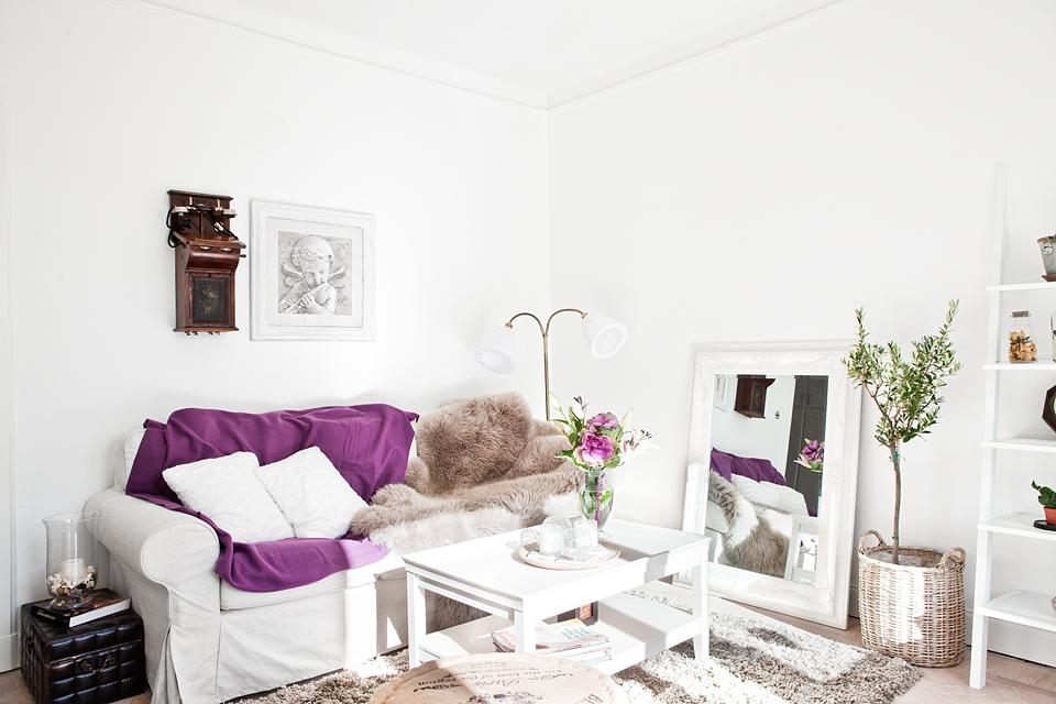 white scandinavian with purple