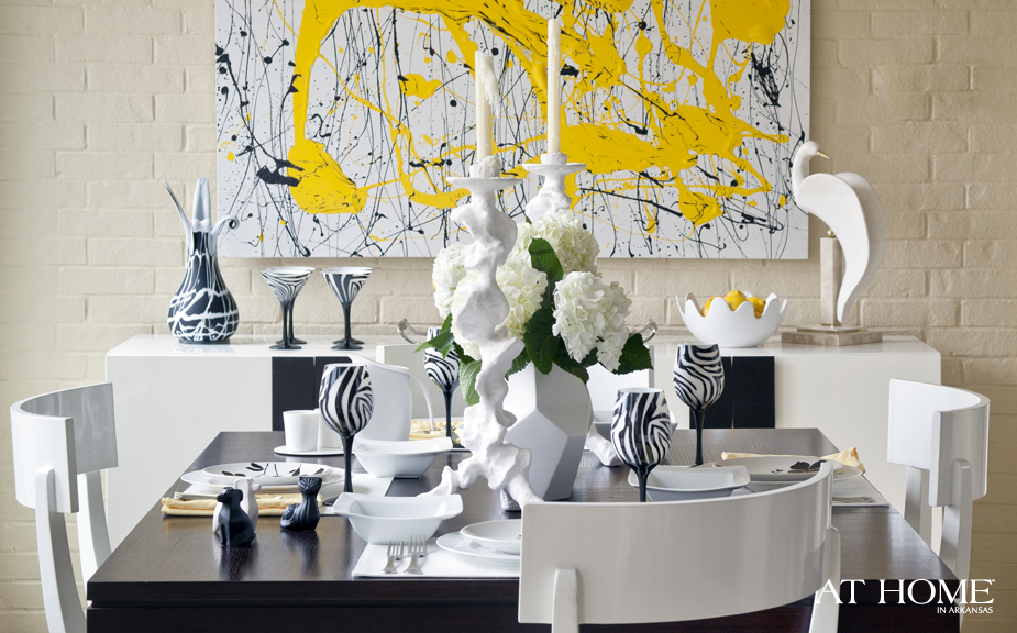 yellow art in the dining room 1