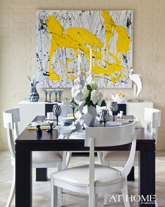yellow art in the dining room 2
