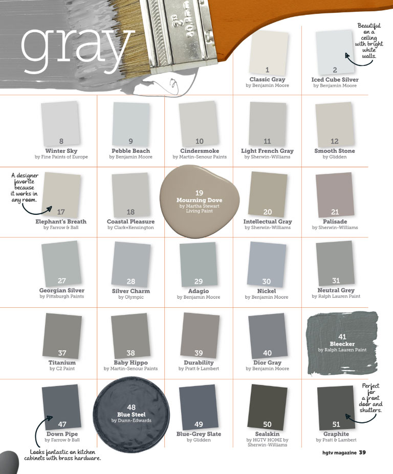 Shades of Grey Paint Colors 768 x 927