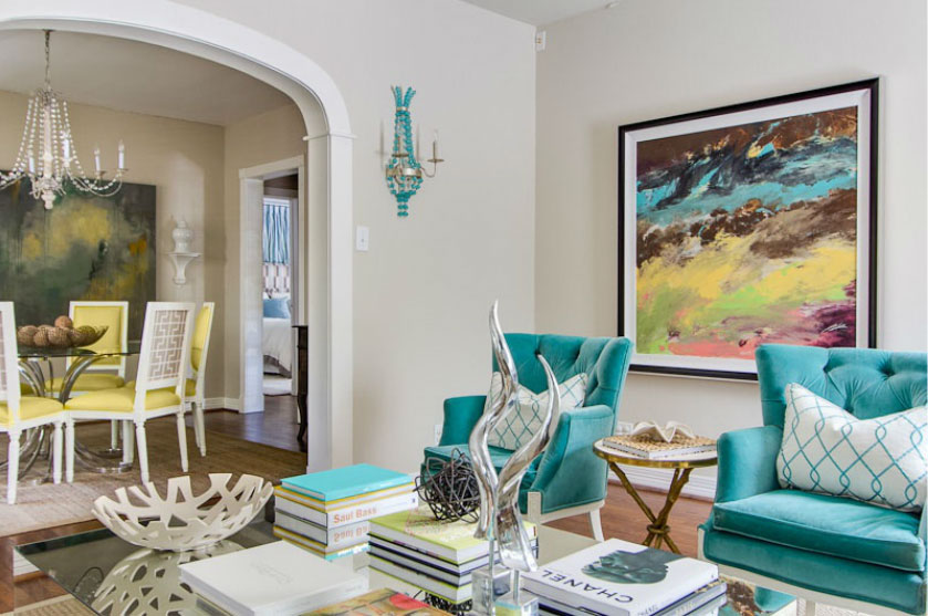 Turquoise Living Room - Interiors By Color (16 Interior Decorating