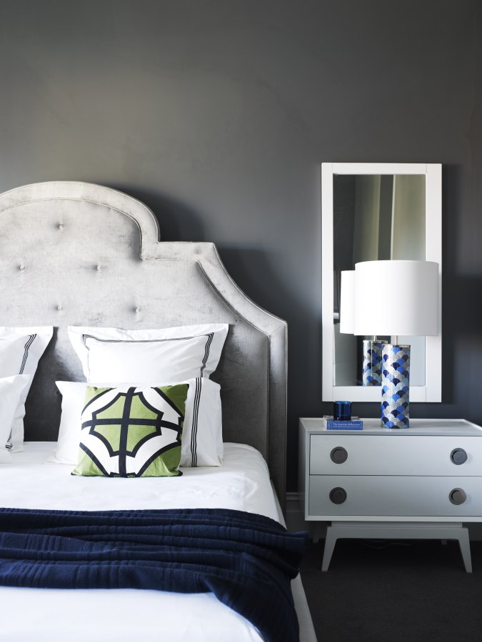 bedroom in grey blue and lime green 1  Clarke Payne House Interiors By Color. Grey And Navy Bedroom   SNSM155 com