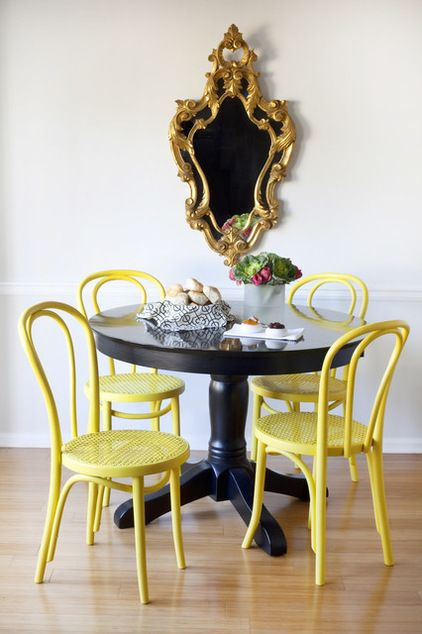 bentwood chairs painted in yellow