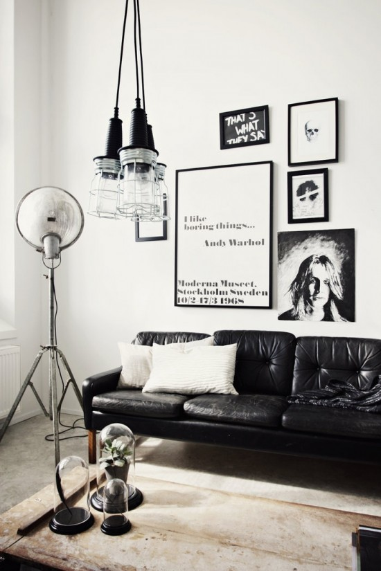 black and white interior living room
