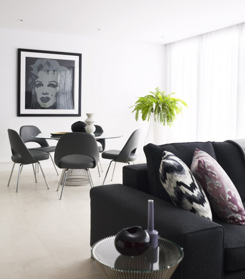 black dining and living interior