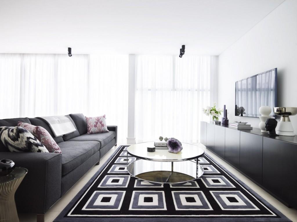 black grey adn white living room