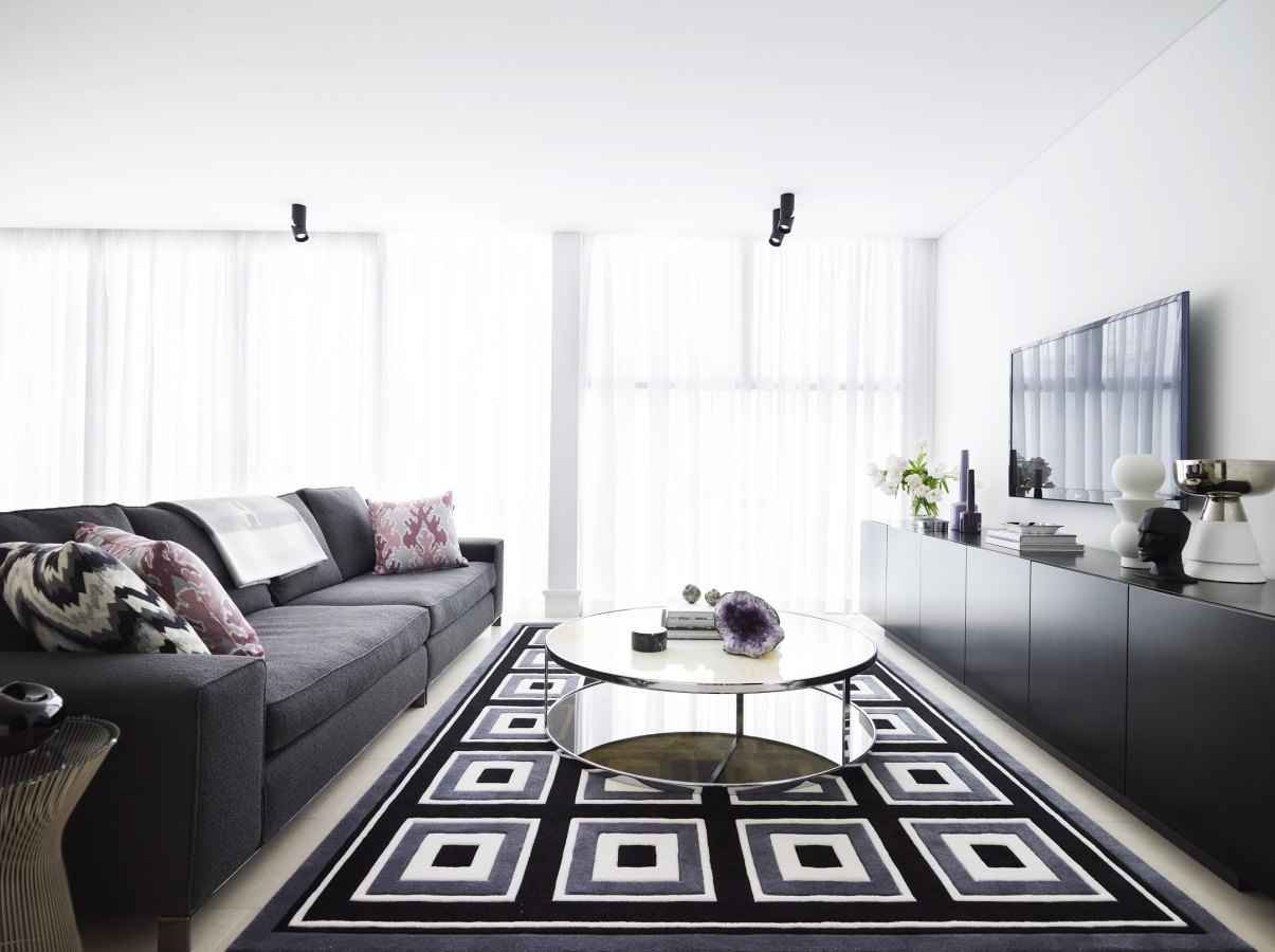 Modern black grey and white interiors by color for Grey black and white living room
