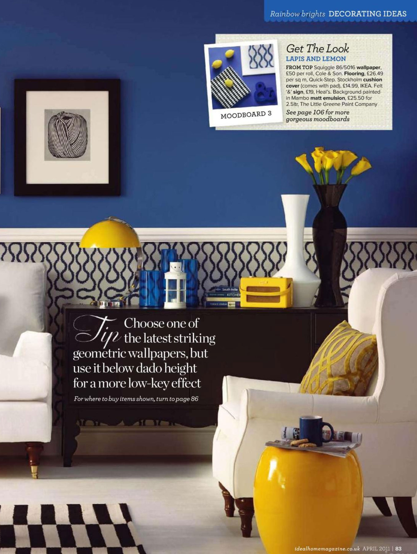 A lemon twist interiors by color for Modern living room blue