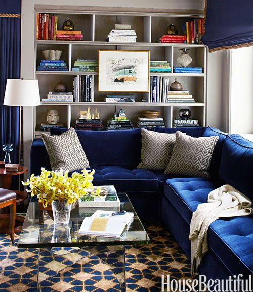 blue velvet sofa and pattern floor