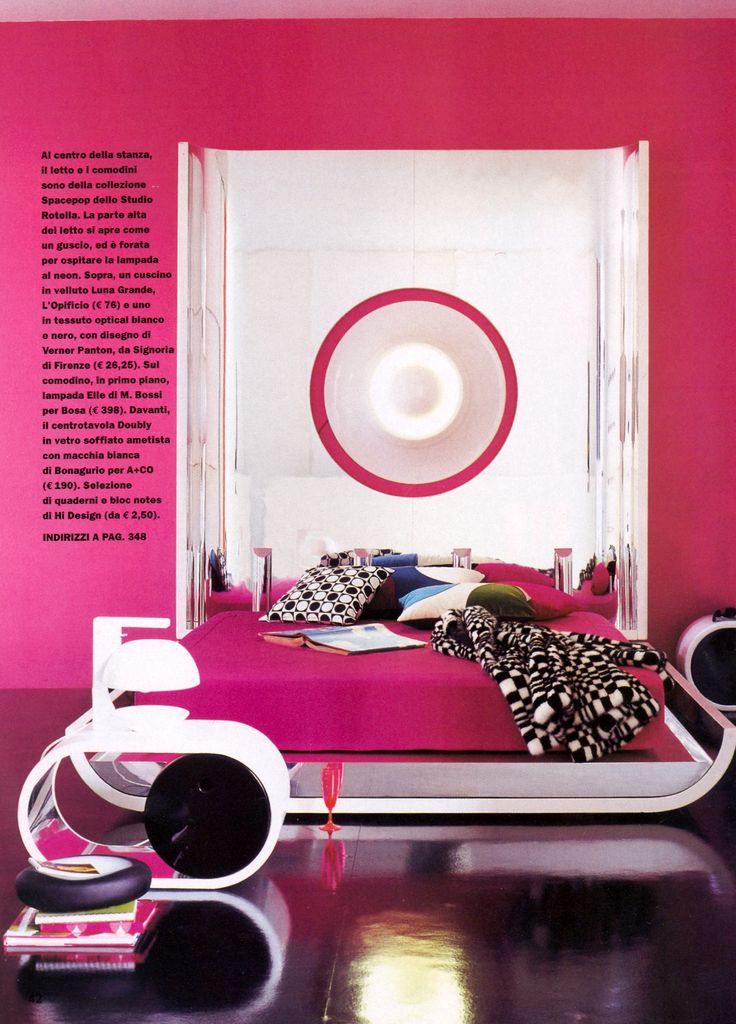 contemporary hot pink bedroom