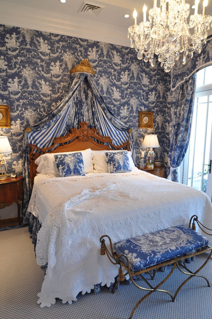 Deep Blue Toile Interiors By Color