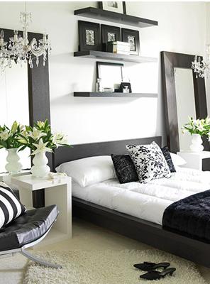 feminine bedroom in black and white