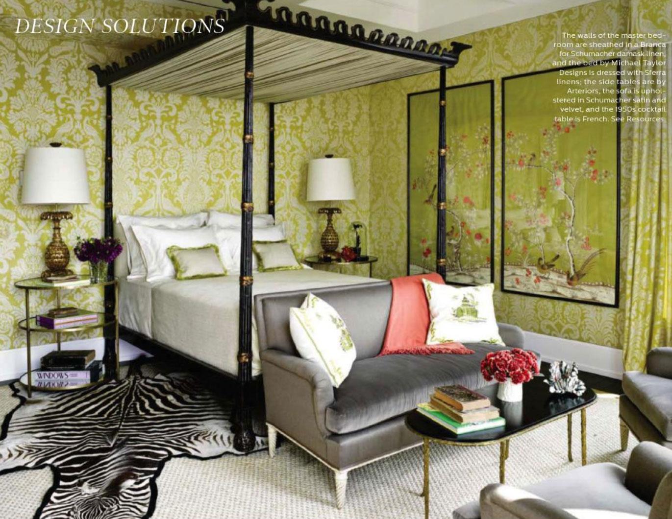 Branca For Schumacher Damask Linen Interiors By Color