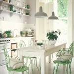 Shabby Chic White and Mint Kitchen