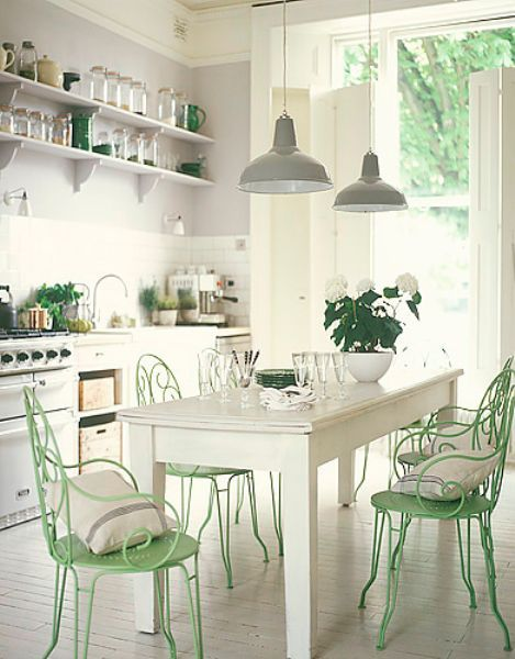 Shabby chic white and mint kitchen interiors by color for Tenue shabby chic