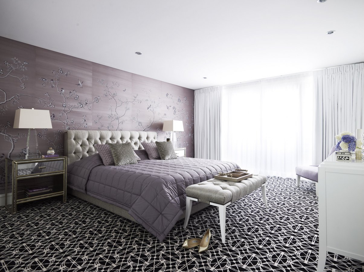 Beautiful soft lavender master bedroom with chinoiserie wallpaper and