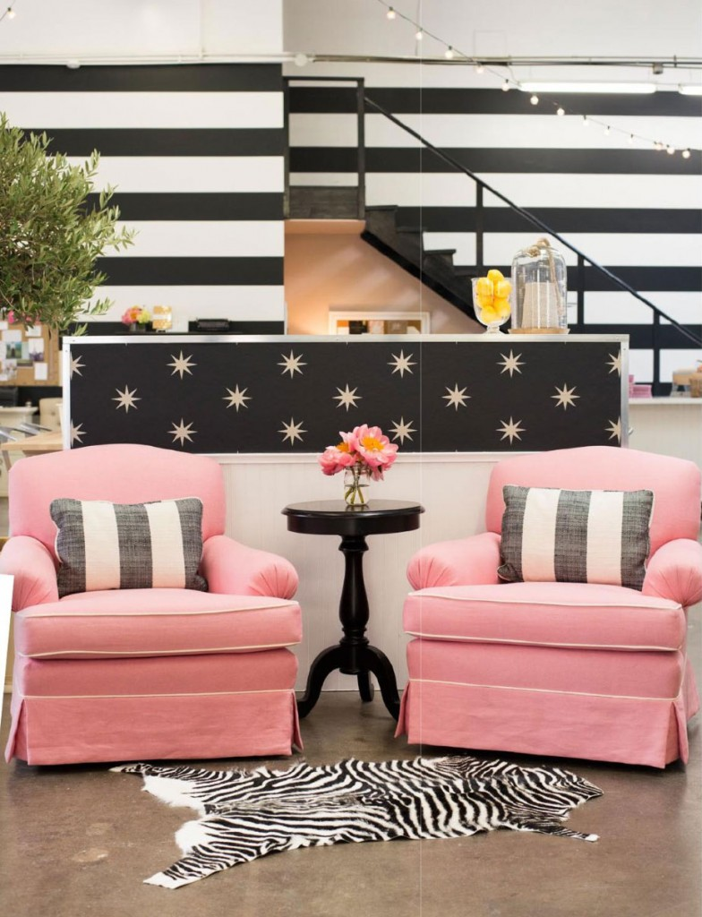 Pastel Pink And Back And White Patterns on famous art deco interior designers